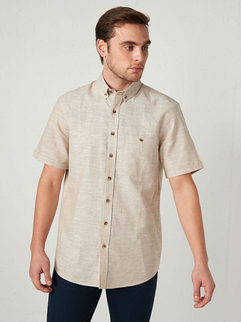 Сорочка з льону з короткими рукавами -S11426Z8-CR8