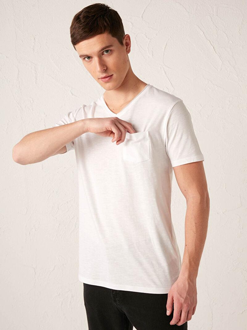 Beyaz V Yaka Kısa Kollu Basic Pamuklu Erkek Tişört S13643Z8 LC Waikiki