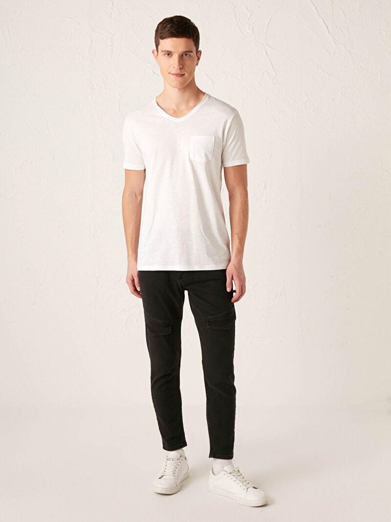 %100 Pamuk  V Yaka Kısa Kollu Basic Pamuklu Erkek Tişört