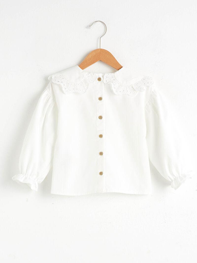 %100 Pamuk  %100 Pamuk Bebe Yaka Bluz Uzun Kol Düz Kız Bebek Bluz