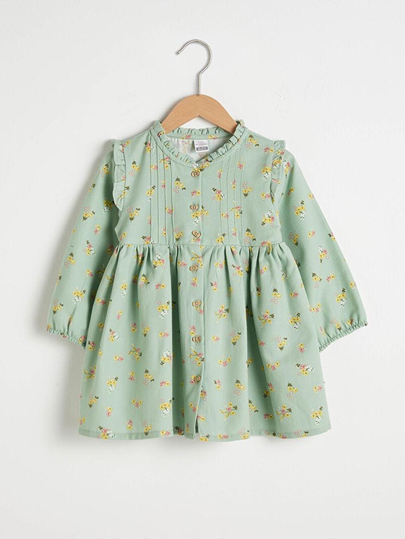 Yeşil Kız Bebek Baskılı Elbise S19527Z1 LC Waikiki