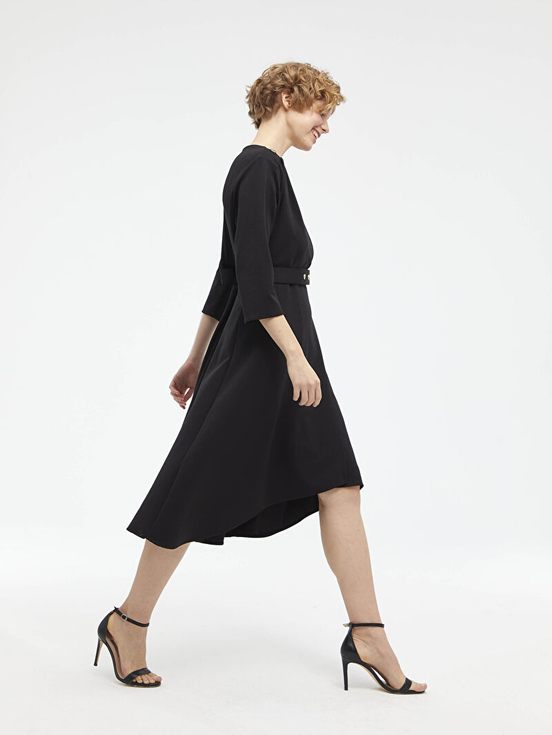 %94 Polyester %6 ELASTAN  %100 Poliüretan  %94 Polyester %6 ELASTAN  Elbise Standart Astarsız Orta Kalınlık Uzun Kol Düz A Kesim Midi Beli Kemer Detaylı V Yaka Ponte Elbise
