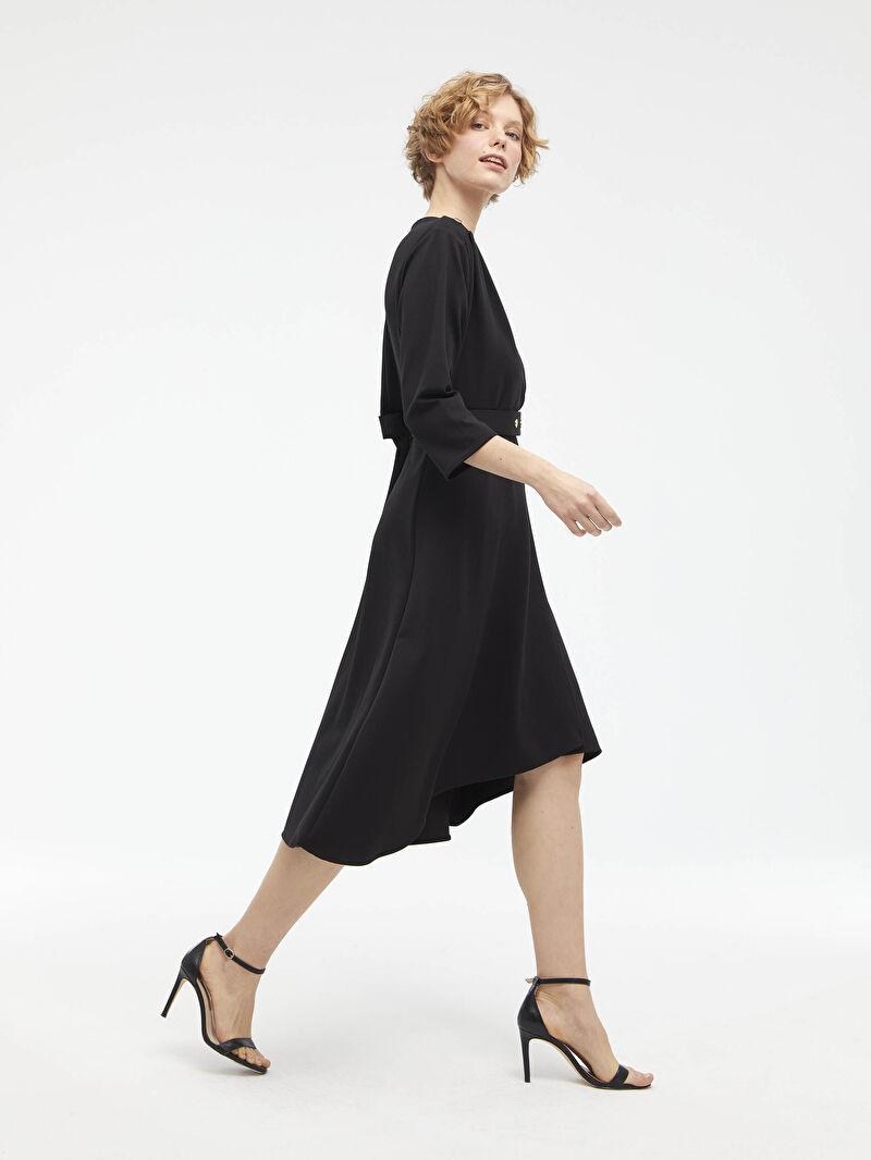 Kadın Beli Kemer Detaylı V Yaka Ponte Elbise