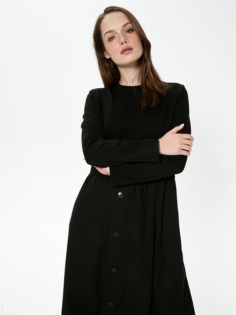 Siyah MODEST Düğme Detaylı Uzun Elbise S1AY72Z8 LC Waikiki