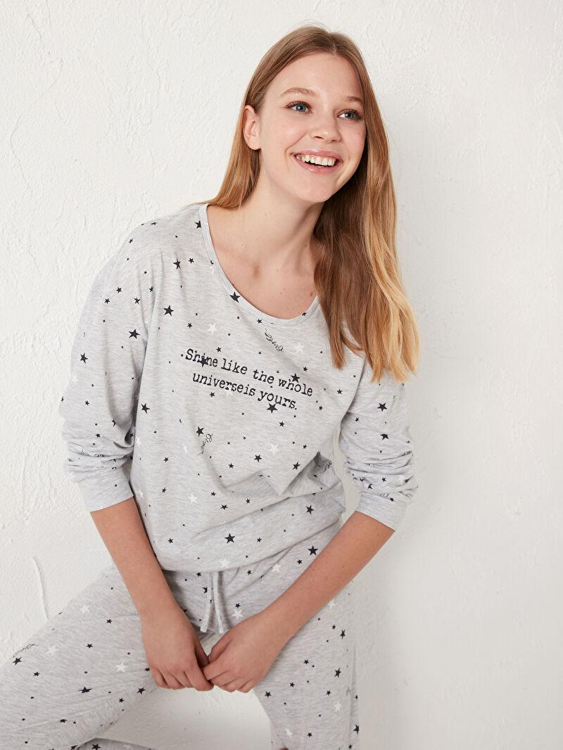 Kadın Slogan Baskılı Pijama Takımı