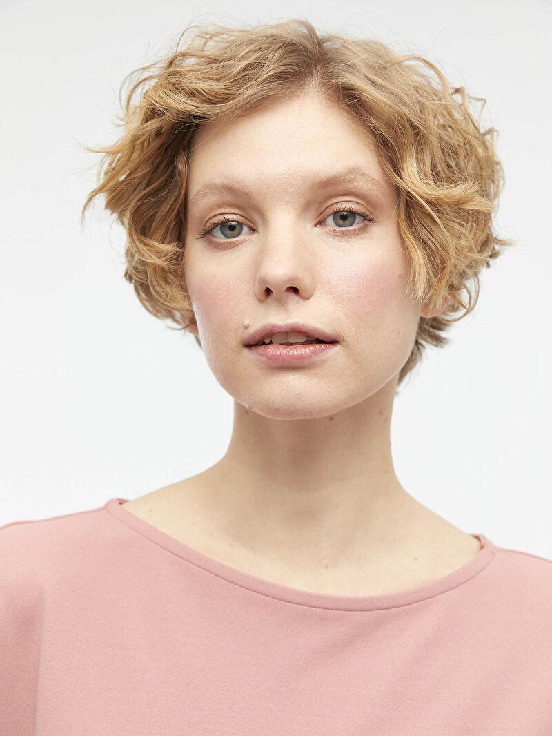 %96 Polyester %4 ELASTAN  Beli Kuşaklı Kısa Kollu Elbise