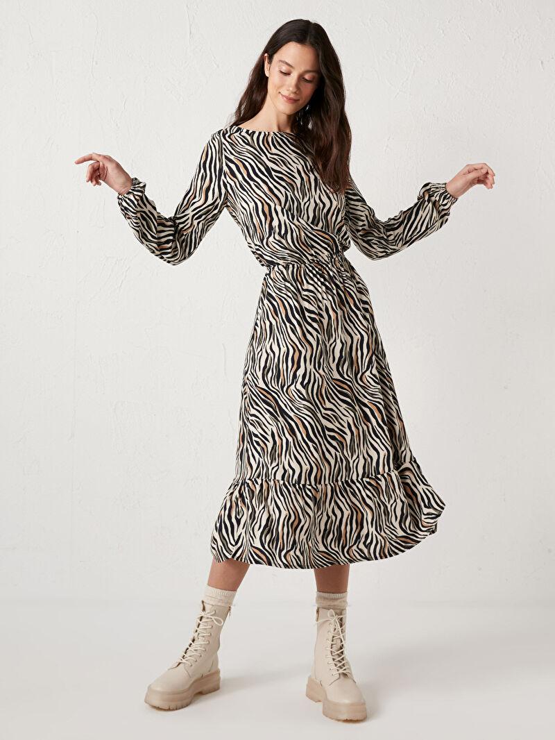 Bej Beli Büzgülü Desenli Viskon Elbise