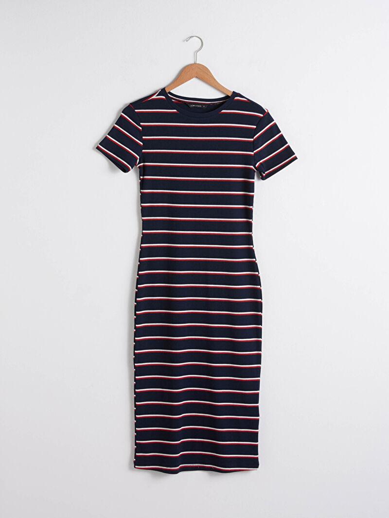 Lacivert Uzun Çizgili Elbise