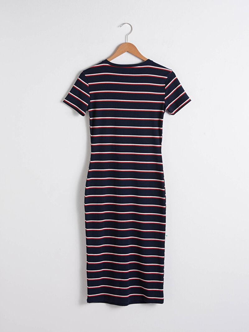 S1BT06Z8 Uzun Çizgili Elbise