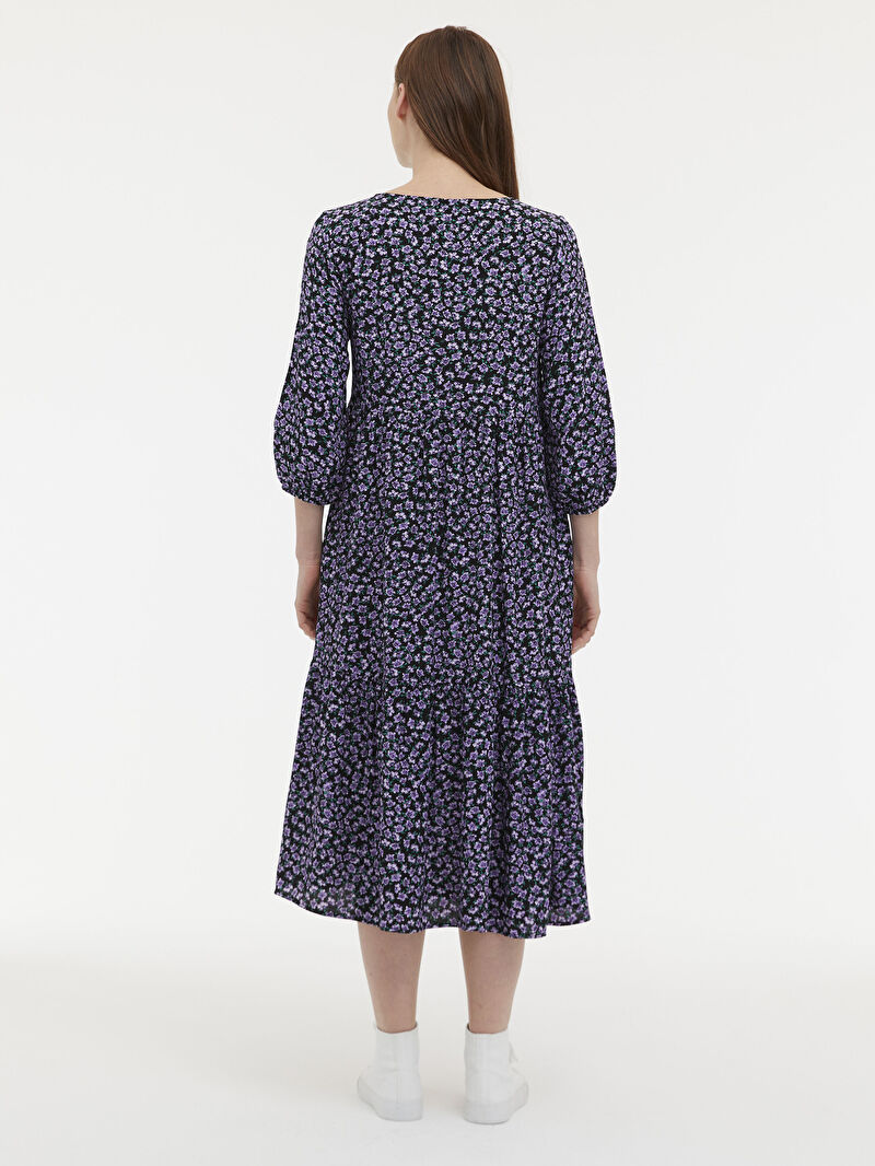 %100 VİSKOZ  Yakası Bağlama Detaylı Çiçekli Viskon Elbise