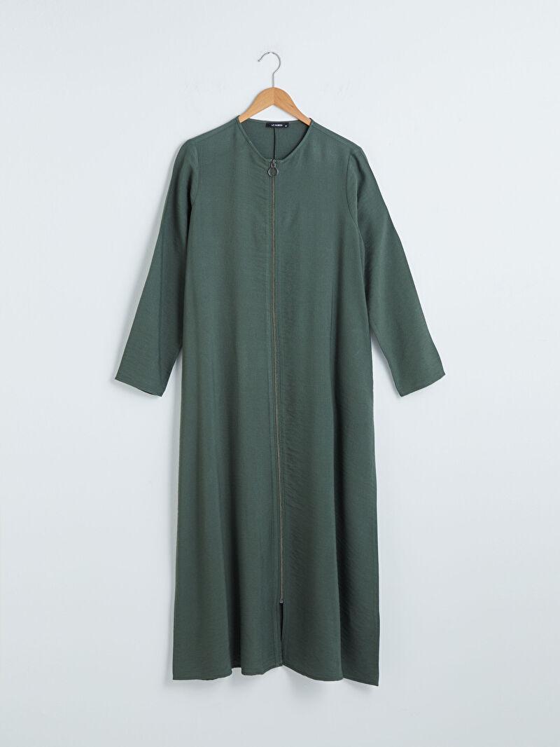 Yeşil Fermuar Kapamalı Uzun Keten Elbise S1CE52Z8 LC Waikiki