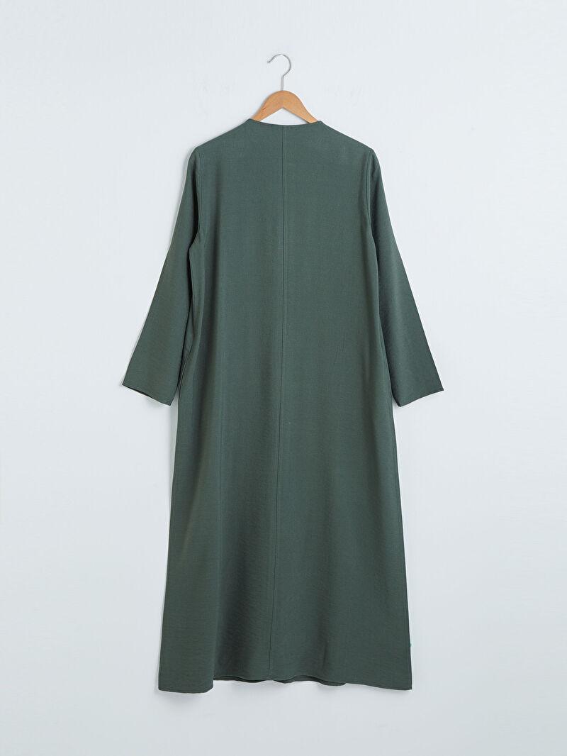 Kadın Fermuar Kapamalı Uzun Keten Elbise