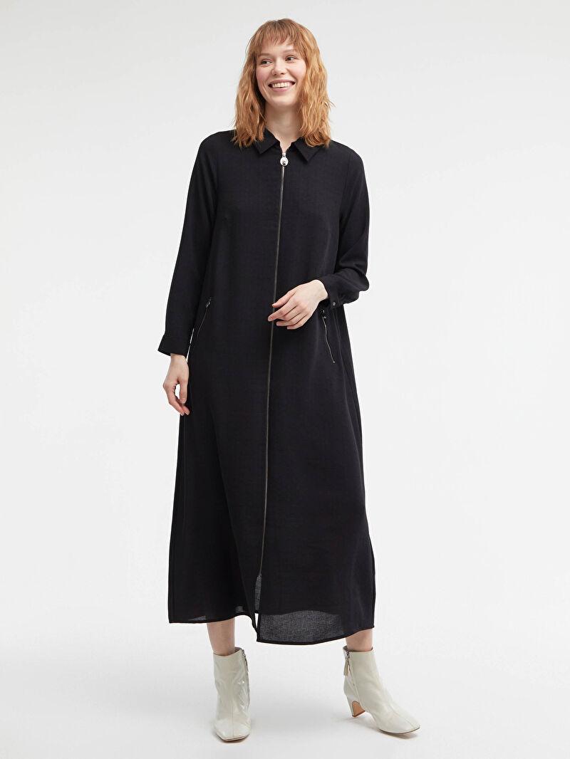 S1CE52Z8 Fermuar Kapamalı Uzun Keten Elbise