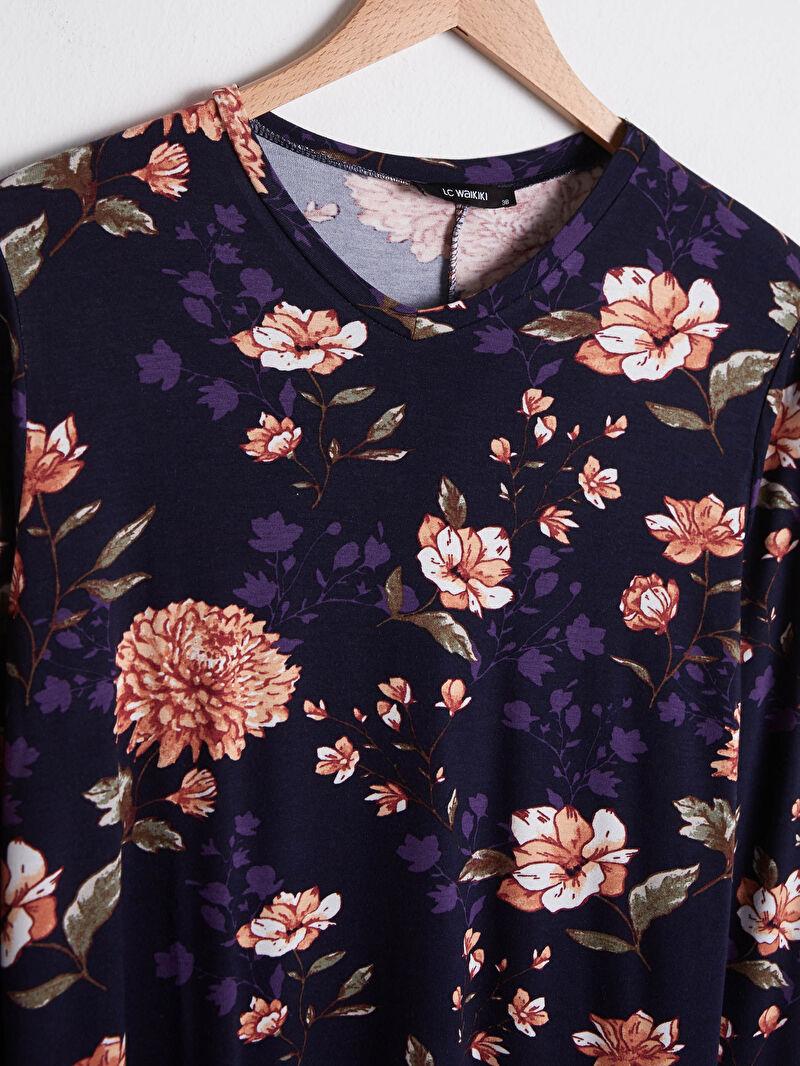 S1DD52Z8 Çiçek Desenli Esnek Viskon Elbise