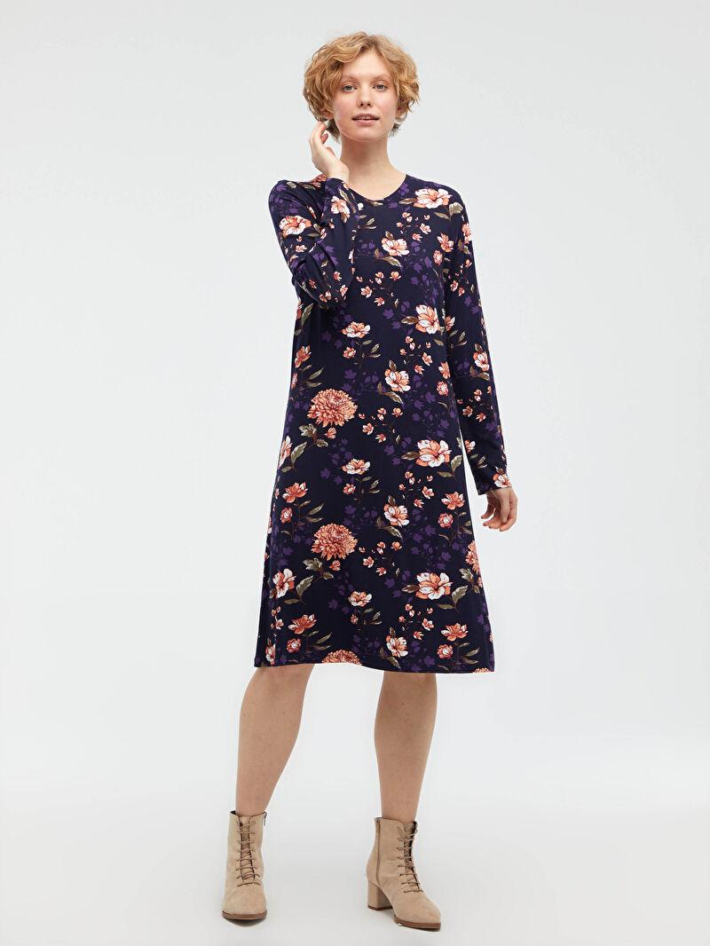Lacivert Çiçek Desenli Esnek Viskon Elbise S1DD52Z8 LC Waikiki