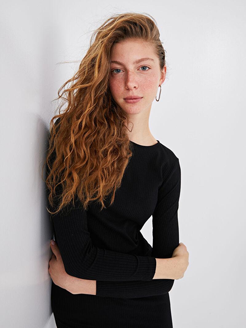 %66 Polyester %31 VİSKOZ %3 ELASTAN  XSIDE Sırt Detaylı Uzun Kollu Kadın Elbise