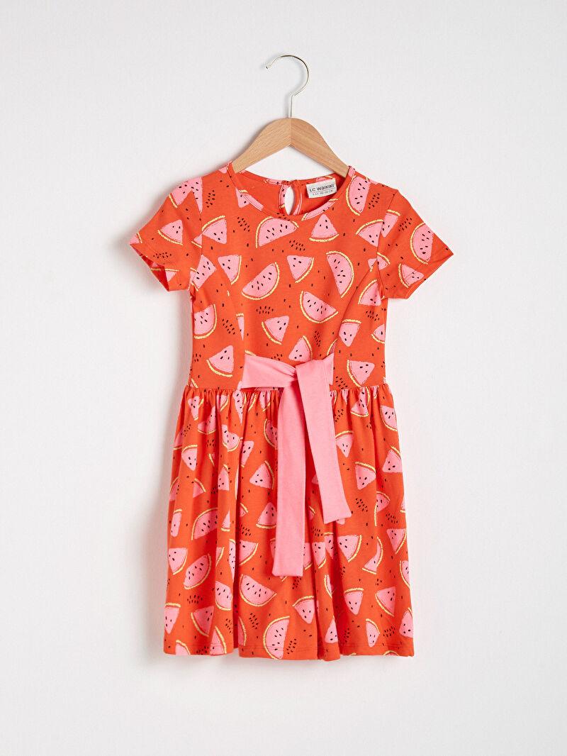 Kırmızı Kız Çocuk Baskılı Pamuklu Elbise S1DO59Z4 LC Waikiki