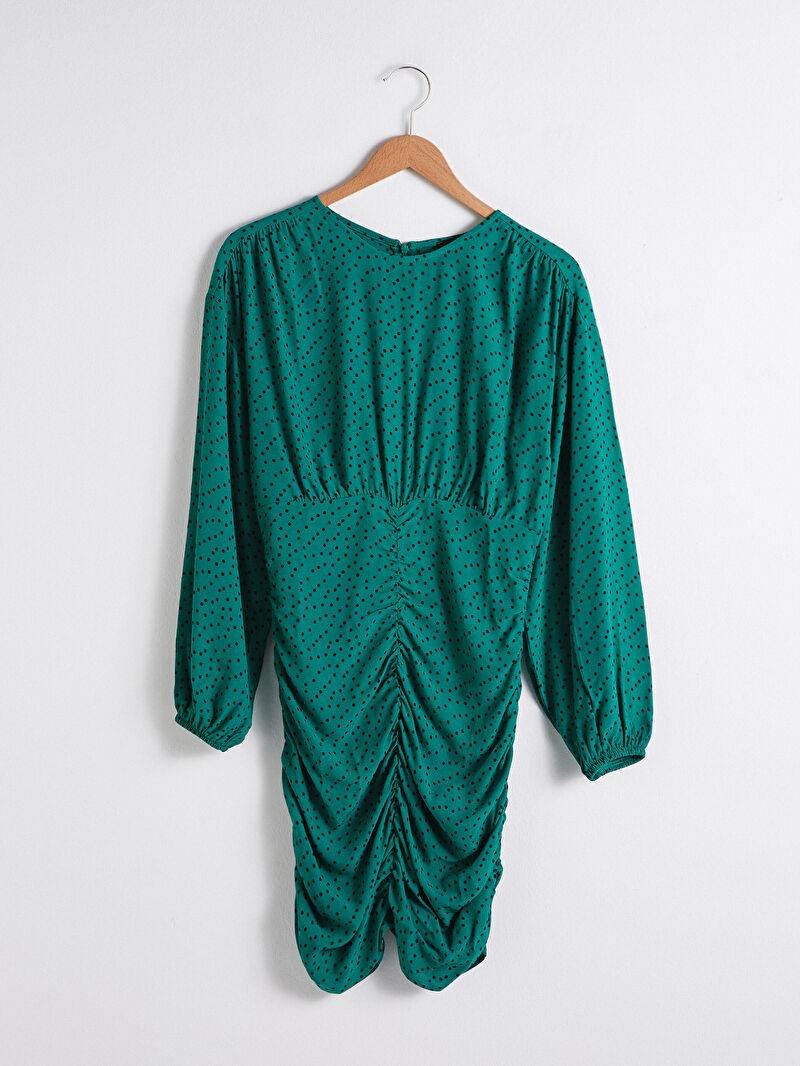 Yeşil Puantiye Desenli Viskon Elbise S1G597Z8 LC Waikiki