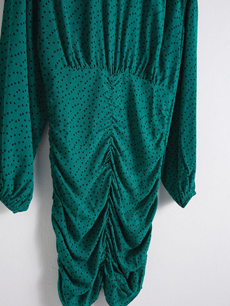 Kadın Puantiye Desenli Viskon Elbise