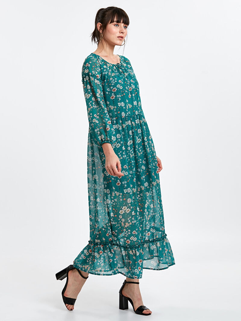 Yeşil Desenli Şifon Elbise 8WK087Z8 LC Waikiki