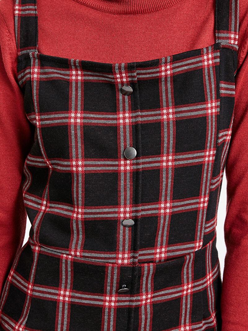 Kadın Ekose Salopet Elbise