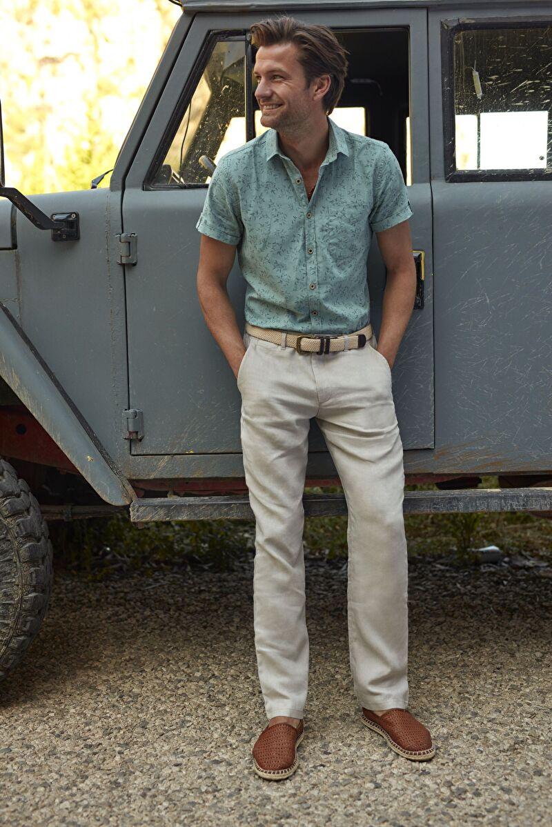%100 Keten  Aksesuarsız Düz Standart Normal Bel Uzun Pantolon Keten Standart Kalıp Keten Pantolon