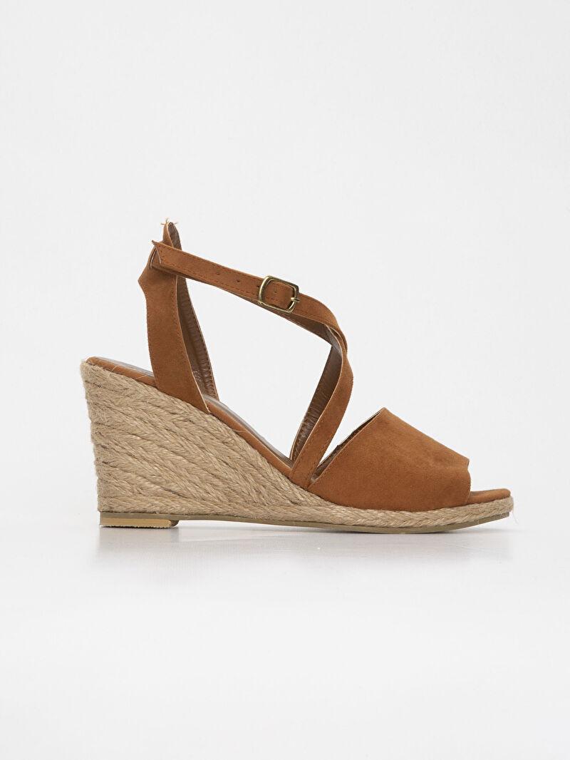 Bej Kadın Hasır Dolgu Topuk Sandalet 9SG857Z8 LC Waikiki