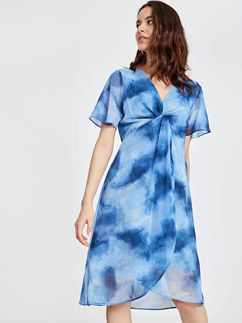 Mavi Batik Desenli Şifon Elbise 9SR890Z8 LC Waikiki