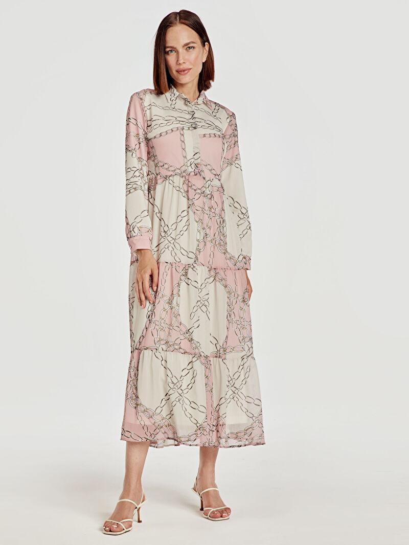 %100 Polyester  %100 Polyester  Elbise Ofis/Klasik Baskılı Şifon Uzun Kol Desenli Uzun Şifon Elbise