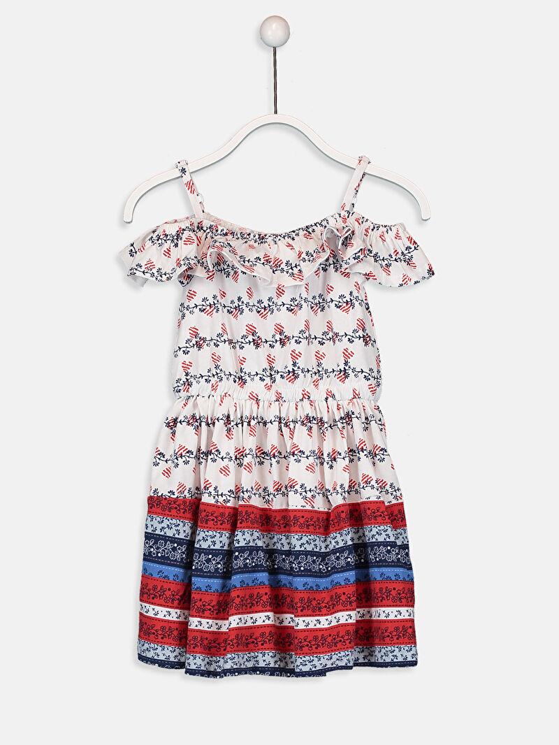 Ekru Kız Çocuk Omuzu Açık Pamuklu Elbise 9S1049Z4 LC Waikiki