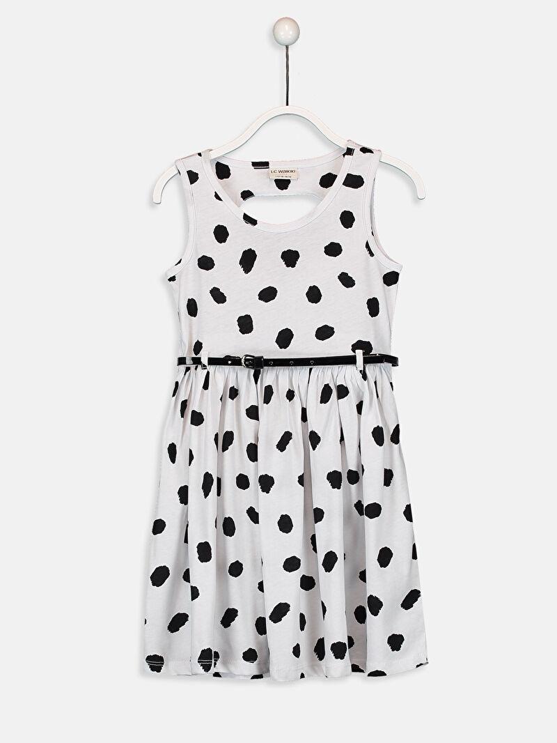Beyaz Kız Çocuk Pamuklu Elbise ve Kemer 9ST173Z4 LC Waikiki