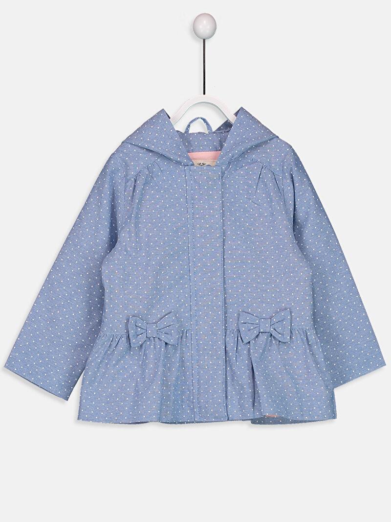 Mavi Kız Bebek Kapüşonlu Puantiyeli Mont 9S0436Z1 LC Waikiki