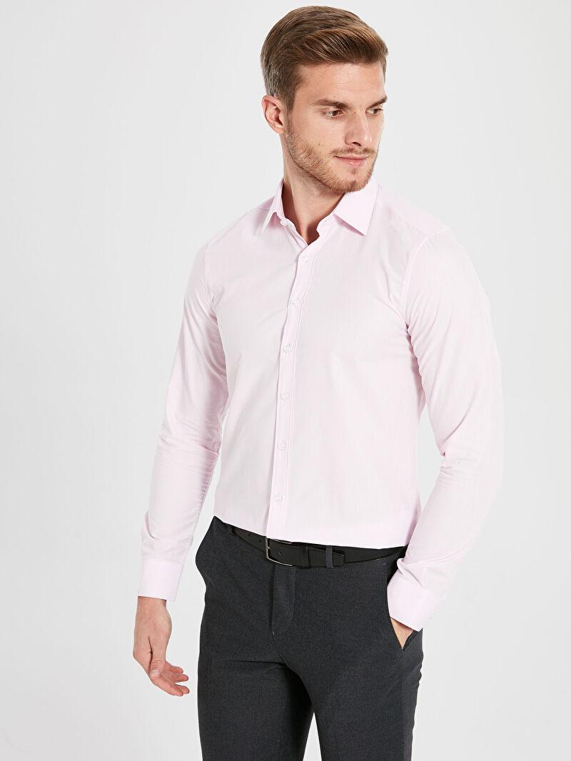 Pembe Slim Fit Uzun Kollu Gömlek 9W2052Z8 LC Waikiki