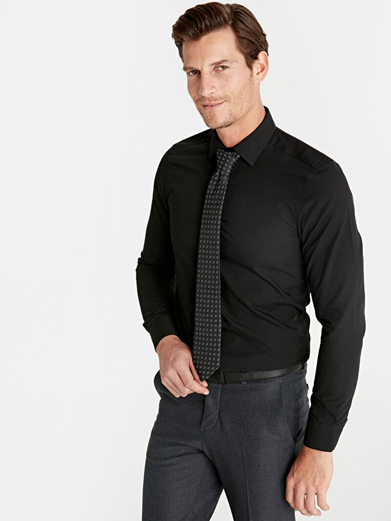 Siyah Slim Fit Uzun Kollu Gömlek 9W2052Z8 LC Waikiki