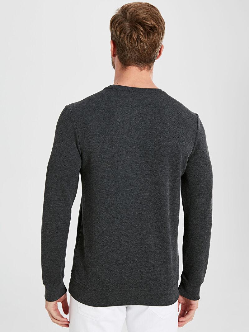 %65 Polyester %35 Pamuk  Rahat Kalıp Bisiklet Yaka Basic Sweatshirt