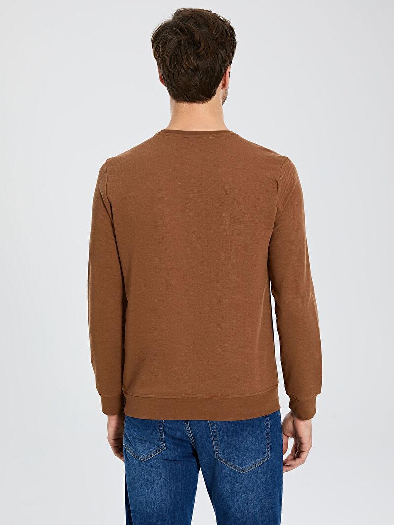 %62 Polyester %38 Pamuk  Rahat Kalıp Bisiklet Yaka Basic Sweatshirt