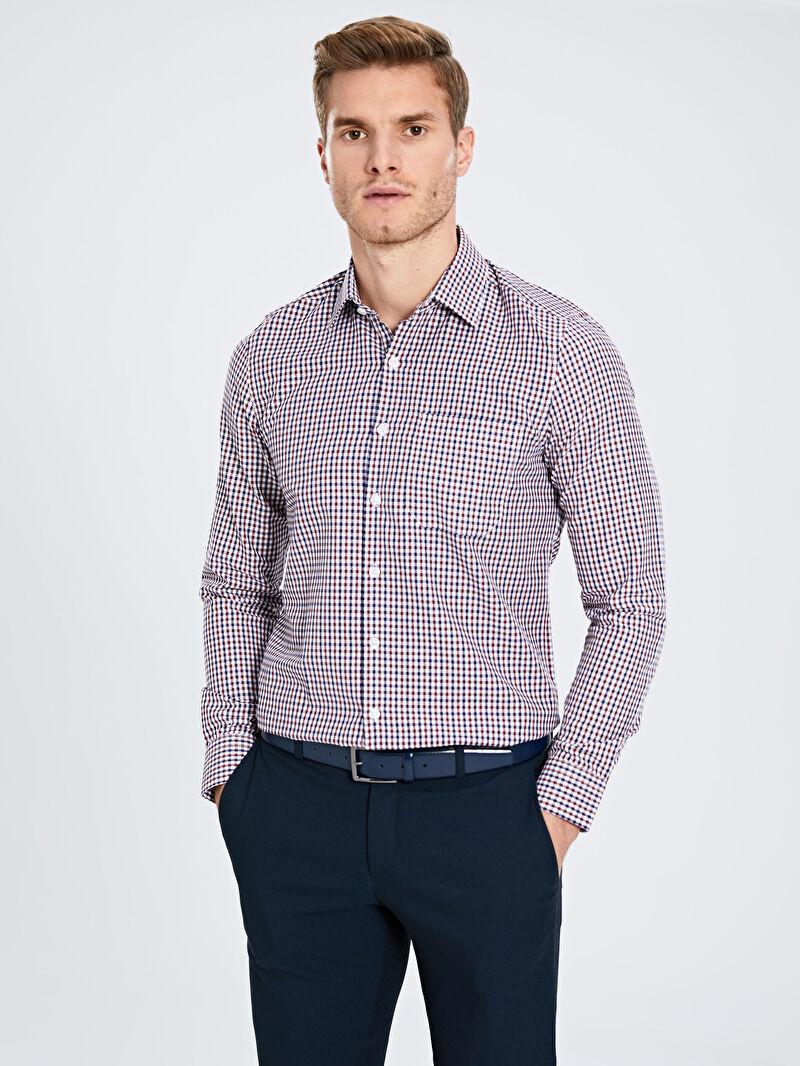 Bordo Slim Fit Ekose Uzun Kollu Armürlü Gömlek 9W9686Z8 LC Waikiki