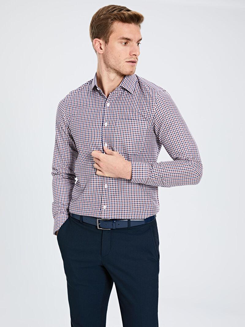 Erkek Slim Fit Ekose Uzun Kollu Armürlü Gömlek