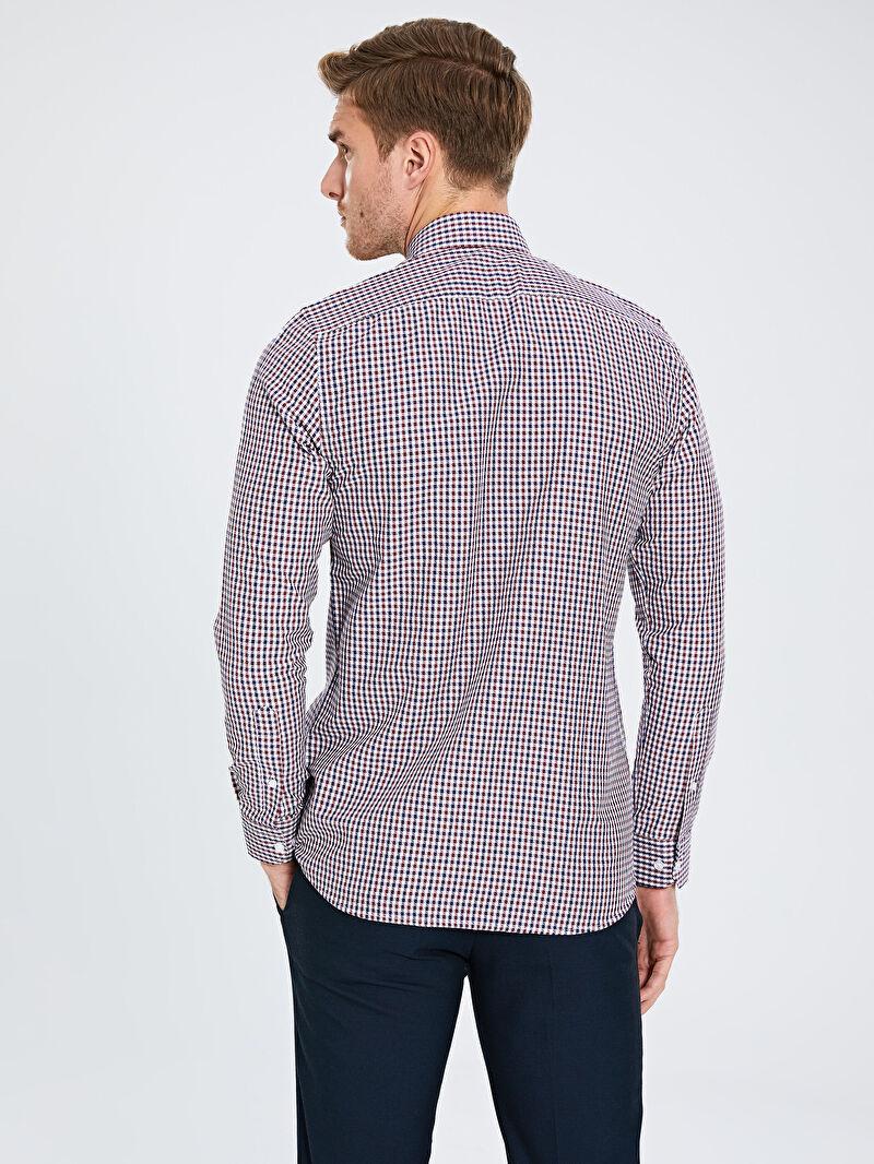 %57 Pamuk %43 Polyester  Slim Fit Ekose Uzun Kollu Armürlü Gömlek