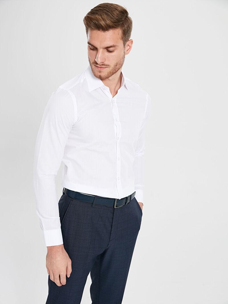 %59 Polyester %41 Pamuk  Uzun Kol Düz Poplin Gömlek Gömlek Yaka Dar Slim Fit Basic Uzun Kollu Gömlek