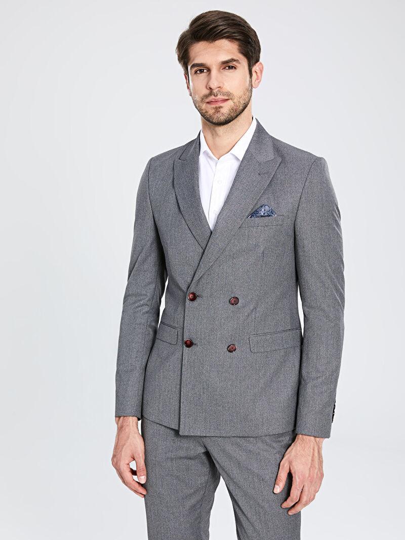 %65 Polyester %35 VİSKOZ  %100 Polyester  Düz Ekstra Dar Blazer Ceket Astarlı Kruvaze Extra Dar kalıp Blazer Ceket