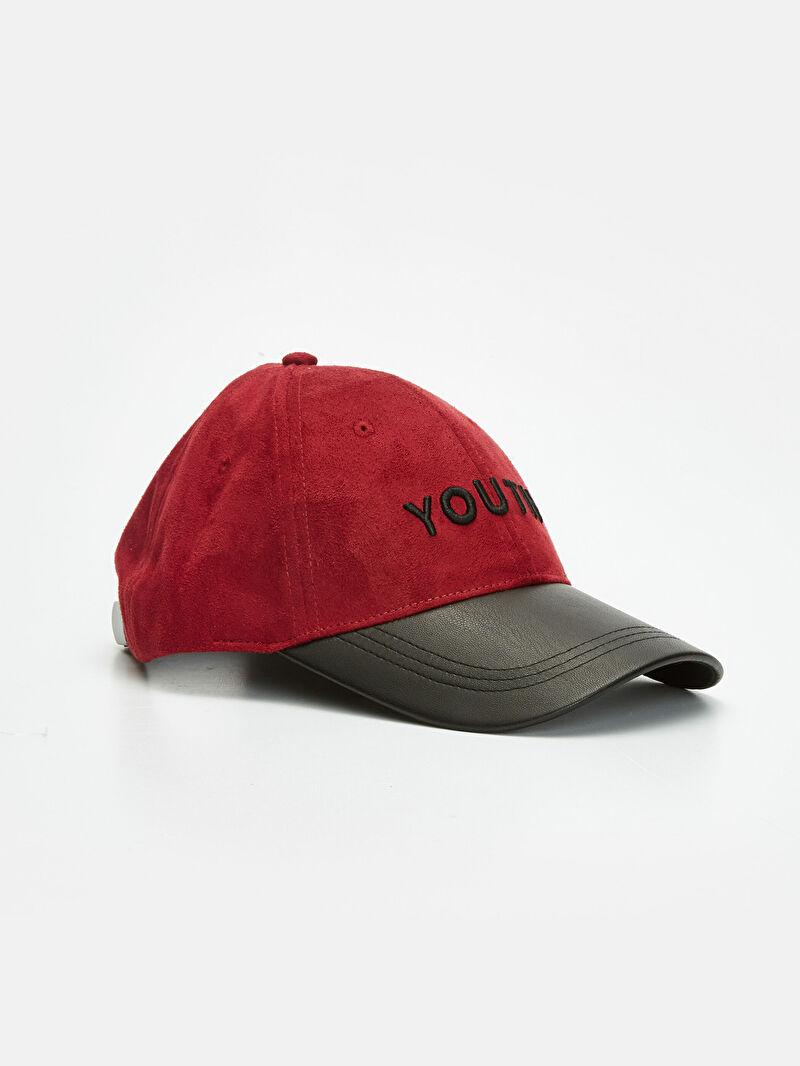 Bordo Nakış Yazı İşlemeli Süet Şapka 9W0869Z8 LC Waikiki