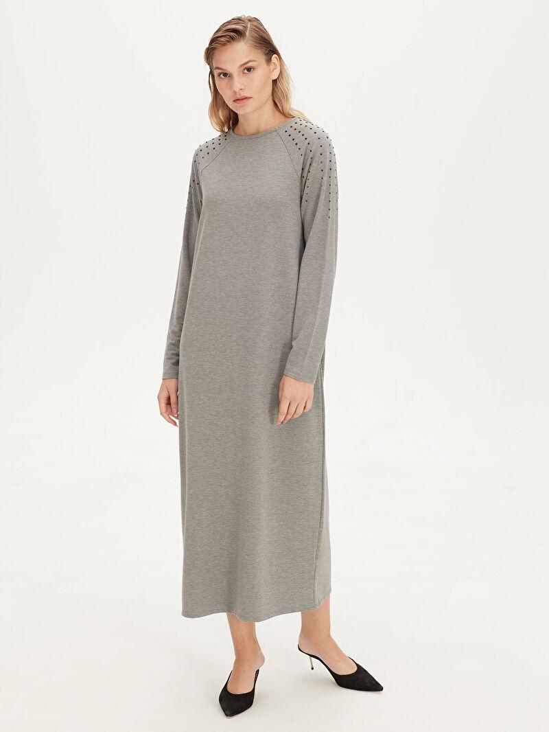 %52 Polyester %42 VİSKOZ %6 ELASTAN  Uzun Kol Düz A Kesim Elbise Standart Astarsız Uzun Sweatshirt Kumaşı Kolları Aplike Baskılı Salaş Viskon Elbise