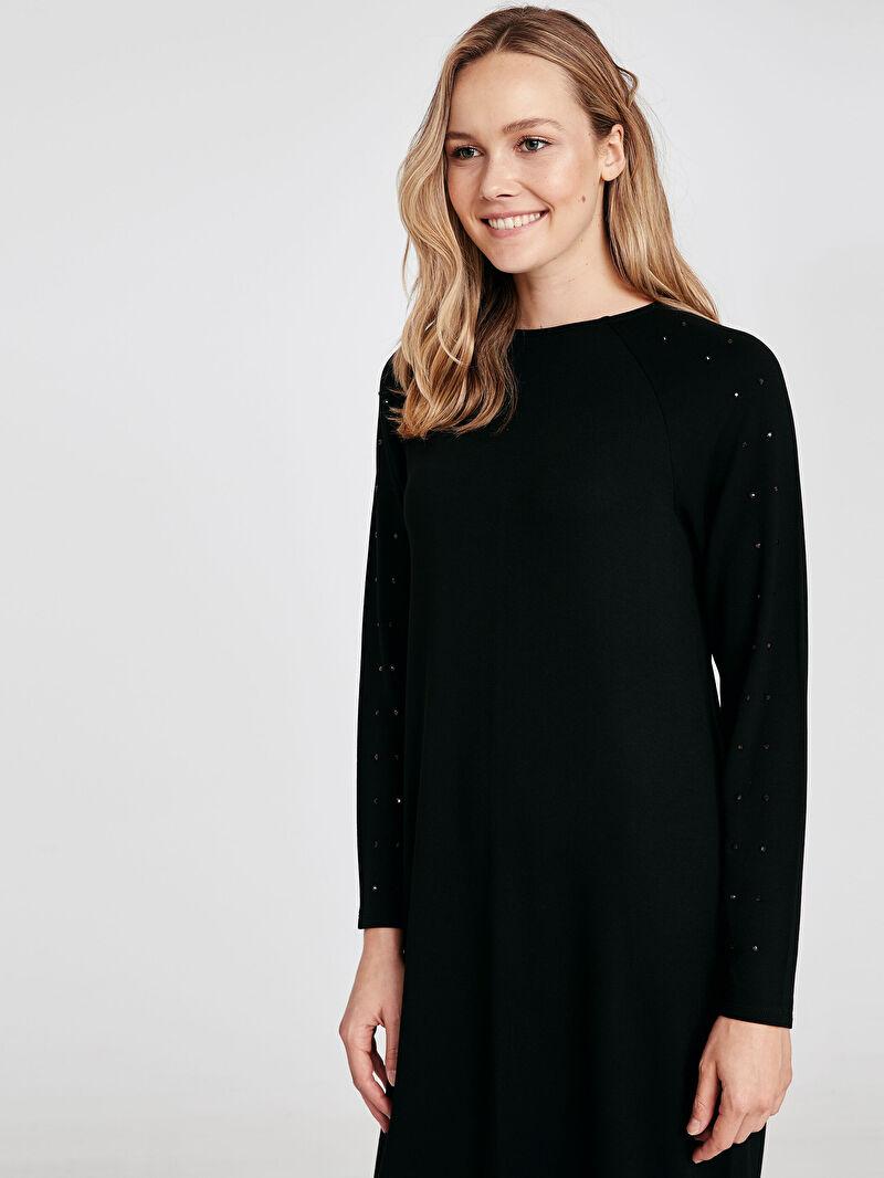 %96 VİSKOZ %4 ELASTAN  Uzun Kol Düz A Kesim Elbise Standart Astarsız Uzun Sweatshirt Kumaşı Kolları Aplike Baskılı Salaş Viskon Elbise