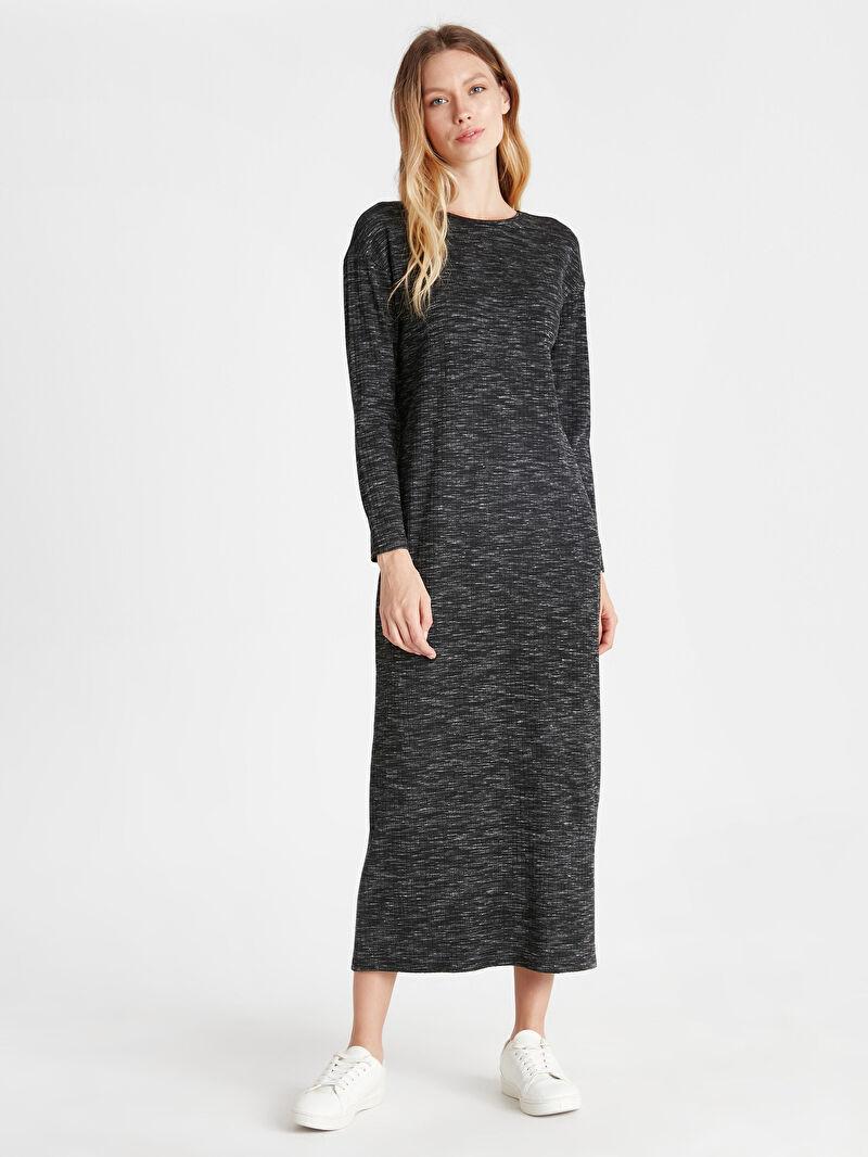 %71 VİSKOZ %27 Polyester %2 ELASTAN  Kaşkorse Uzun Kol Elbise Oversize Baskılı Bol Astarsız Uzun Kendinden Desenli Salaş Uzun Elbise
