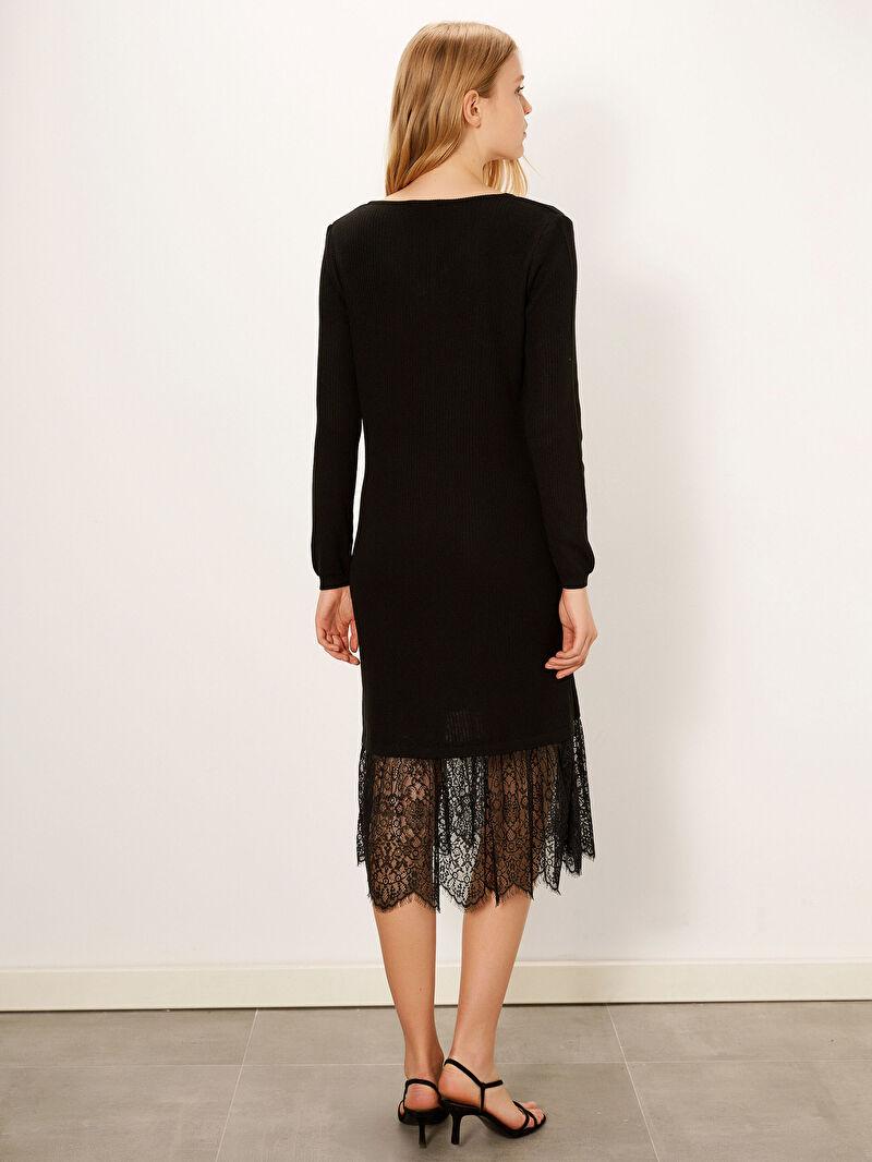 Kadın Dantel Detaylı İnce Triko Elbise