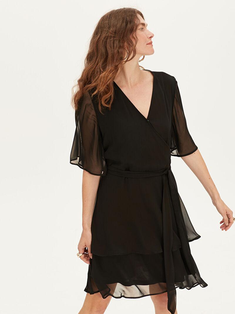 Siyah V Yaka Düz Şifon Elbise 9WM412Z8 LC Waikiki
