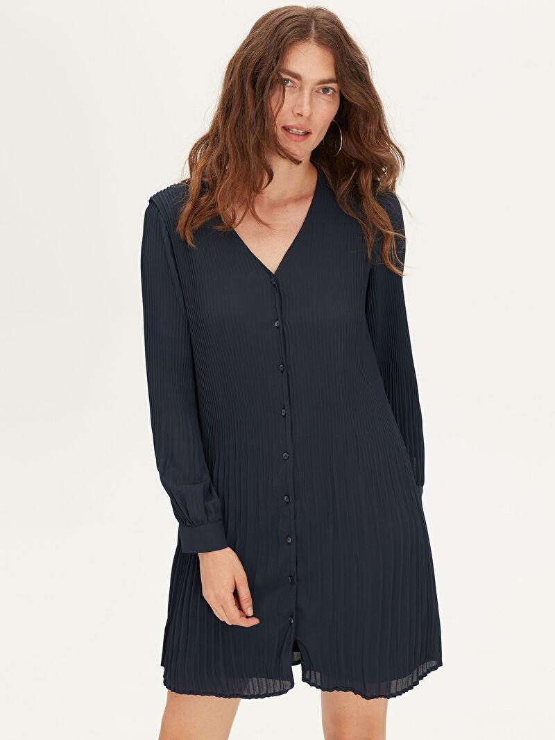 %100 Polyester  %100 Polyester  Bol Şifon V Yaka Uzun Kol Düz Elbise Kısa Pili Detaylı Şifon Elbise