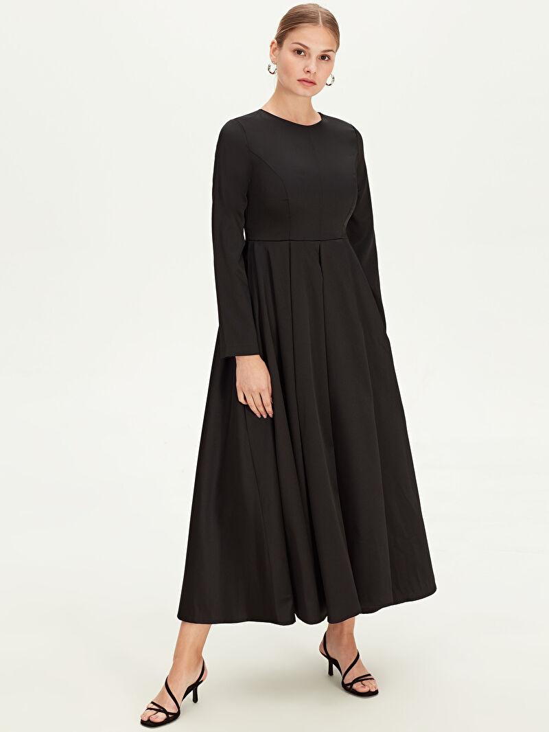%100 Polyester  %100 Polyester  Uzun Kol Düz Fit&Flare Astarlı Elbise Abiye Uzun Kloş Abiye Elbise
