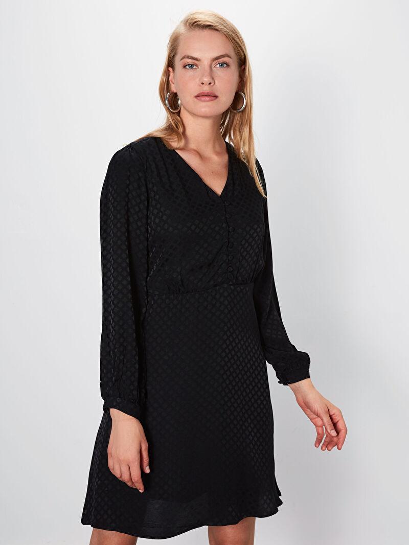 %100 VİSKOZ  %100 Polyester  Elbise Kısa Saten Standart V Yaka Uzun Kol Düz A Kesim Saten Balon Kol Elbise